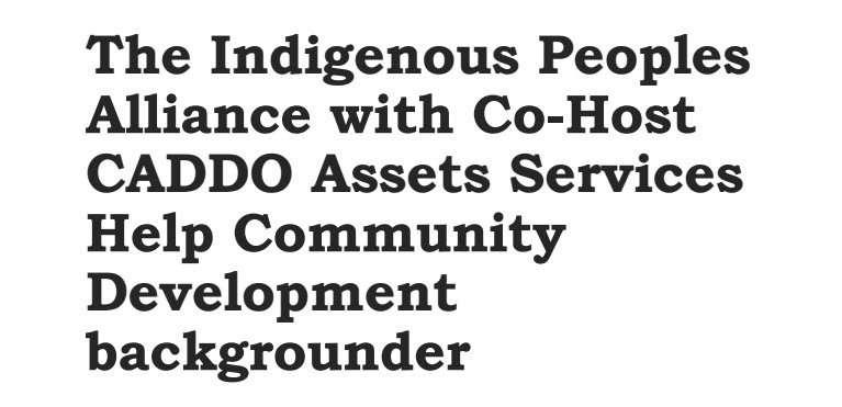 IdigenousPeopleAllianceCASH